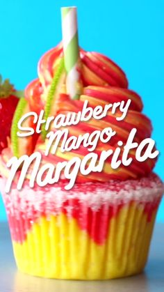 Strawberry Mango Margarita Cupcakes, Desserts, Now you can have your cupcake & margarita too! Mango Margarita, Elegante Desserts, Baking Recipes, Dessert Recipes, Delicious Desserts, Yummy Food, Tasty, Cupcake Flavors, Gourmet Cupcakes
