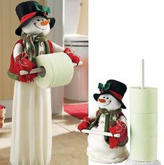 And can simply be recreated by using some white fleece fabric and a stuffed toy snowman!Snowman for the bathroom and kitchen of the house, Paper Roll Snowmen Make a fun Winter craft with these toilet paper roll snowmen. Christmas Snowman, Christmas Home, Handmade Christmas, Christmas Holidays, All Things Christmas, Christmas Ornaments, Snowman Crafts, Christmas Projects, Diy And Crafts