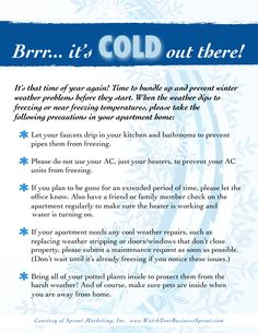 Freeze prevention tips for the winter season from Sprout Marketing. Management Tips, Property Management, Business Management, Rental Property, Investment Property, Resident Retention, Leasing Office, Senior Living, Home