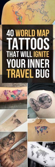 World Map Tattoo Designs More