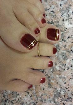 39 Ideas For Pedicure Designs Maroon Toe Nails 39 Ideas For Pedicure Designs Maroon Toe Nails - Nail Designs Pretty Toe Nails, Cute Toe Nails, Pointy Nails, My Nails, Gold Toe Nails, Red And Gold Nails, Gold Nail Art, Red Gold, Toe Nail Art
