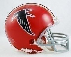 The Riddell Proline mini helmet features a plastic facemask, realistic interior foam padding and vinyl-leather chin strap. Officially licensed by the National Football League. Size: scale version of NFL football helmets. Atlanta Falcons Helmet, Falcons Football, Football Players, Football Helmets For Sale, Helmet Logo, Nfl Gear, Nfl Fans, Professional Football, National Football League
