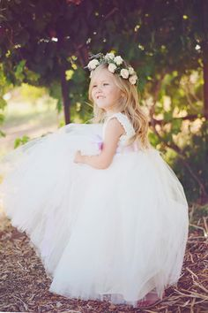Lace and tulle flowergirl dress from Fattie Pie | Elsa | StyleMePretty