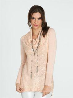 Sequin Yarn Knit Sweater in Blush - $41.99