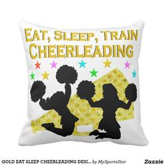 GOLD EAT SLEEP CHEERLEADING DESIGN Calling all Cheerleaders! Enjoy the best selection of Cheerleading Tees and Gifts from Zazzle. 40% Off Pillows 15% Off Sitewide Use Code: ZAZFLASHSAVE  http://www.zazzle.com/mysportsstar/gifts?cg=196898030795976236&rf=238246180177746410 #Cheerleading #Cheerleader #Cheerleadergift #Lovecheerleading