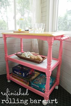 refinished rolling bar cart, painted furniture, A two time hand me down bar cart got a simple makeover