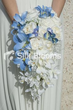 silver, white and blue wedding boquets | Blue & White Cascading Designer Wedding Bouquet Gorgeous Blue & White ...