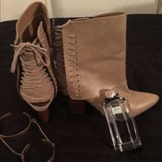 Tan wedges & Gucci flora perfume ! Bundle deals ! Bundle deals ! Gucci flora used A little still 90% lefted ! And barley used boots rocker chic look ! Make offer ladies !  Gucci Shoes Wedges