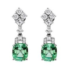 Raymond C. Yard Mint Tourmaline Diamond drop earrings