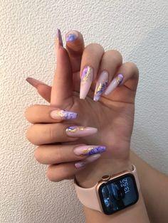 Bling Acrylic Nails, Acrylic Nails Coffin Short, Coffin Nails, Gel Nails, Colored Acrylic Nails, Pastel Nail, Nail Polish, Edgy Nails, Stylish Nails