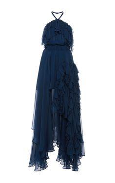 Silk Chiffon Ruffled Halter Dress by NO. 21.