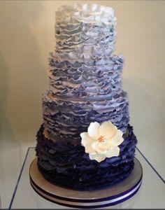 Blue and gray ombré cake for Jon and Jaimie's wedding!