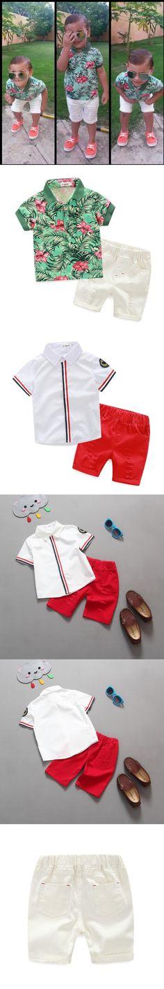 2016 Kids Clothes Boys Summer Clothing Sandy Beach Baby Boys Cotton Short T-shirt + Solid Jeans Pants Set 2PCS Children Costume $15.98