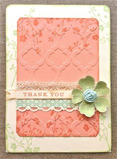 Stampin' Up! stamp set Flower Shop, pansy punch, simply pressed clay, Modern Moaic embossing folder, Scallop trim border punch.