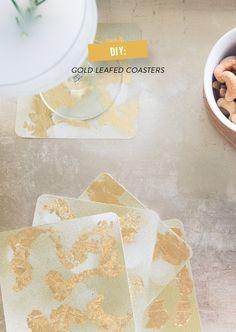 diy gold leafed coasters