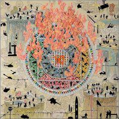 Gonkar Gyatso Shangri La (2014) mixed media collage on aluminium backed honeycomb panel
