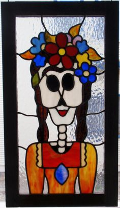 Original+Stained+Glass+Frida++Dia+de+los+Muertos+by+floranaarts