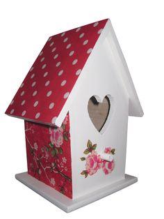 Decoratie #vogelhuisje voor een #meisjeskamer. Bloemen rood. www.kids-ware.nl