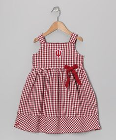 Take a look at this Cardinal Checker Indiana Madison Dress - Infant, Toddler & Girls by Garb on #zulily today!