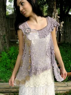 Beautiful lavender. Stunning Detail. Could make from dyed vintage lace and embellish with embroidery. LOVE this!!