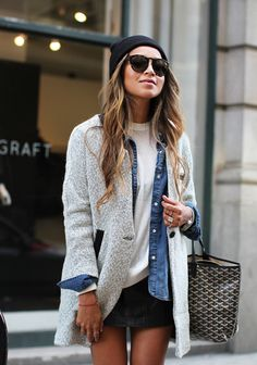 blazer + denim shirt layering.