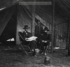 General Grant, Lieutenant Colonel Bowers, and General Rawlins at Grant's headquarters, Cold Harbor. Date Created/Published: 1864 June 11 or 12