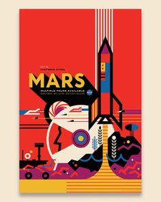 """A área dedesign do Jet Propulsion Laboratory (JPL), setorda NASAque cria sondas espaciais sem tripulação, elaborouuma série de pôsteres, chamada""""Visions of the Future"""", que imagina como seriam ospacotes de viagens espaciais caso eles existissem. No ano passado, a NASA já havia lançado pôsteres que mostravam o que as pessoas encontrariamcaso fosse possível visitar outros planetas."""