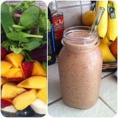This morning's smoothie: banana, nectarine, strawberries, greens, hemp hearts and ice. It's massive! #vegan #raw #food #healthy