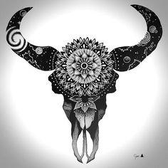 Blackwork Bull Skull Tattoo Design - Beautiful dotwork bull skull and mandala. Bull Skull Tattoos, Bull Skulls, Skull Tattoo Design, Body Art Tattoos, Sleeve Tattoos, Tattoo Designs, Forearm Tattoos, Doodles Zentangles, Trendy Tattoos