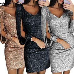 Women Casual V Neck Sequins Long Sleeve Tassel Slim Pencil Skirt Dress 06 Modest Dresses, Club Dresses, Stylish Dresses, Casual Dresses, Fashion Dresses, Black Dress Red Heels, Pencil Skirt Dress, Sexy Latex, Mini Vestidos