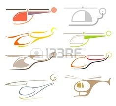 Helicopter set of isolated vector icon Stylized color images design elements Stock Vector