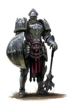 Cleric with Mace and Shield in Full Plate Armor - Pathfinder PFRPG DND D&D d20 fantasy