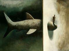 Surreal Animal Paintings by Samuli Heimonen Art And Illustration, Illustrations, 7 Arts, Surrealism Painting, Amazing Paintings, Animal Heads, Fish Art, Art Studies, Animal Paintings