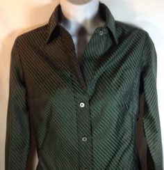Banana Republic Blouse XS Womens Fitted 2 Button Collar Holiday Shirt Evergreen