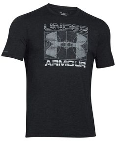 Under Armour gives its logo a new look in this graphic T-shirt, featuring a basketball court motif at the center. | Cotton/polyester/spandex | Machine washable | Imported | Loose fit | Crew neck | Sho
