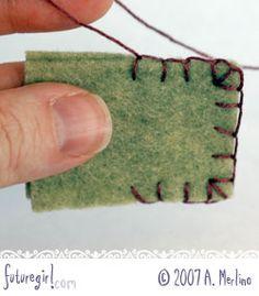 futuregirl craft blog : Tutorial: Hand Sew Felt Using Blanket Stitch