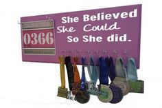 Pin it, share it, Gram it, google + it to let your Valentine know what you wish for Valentine day gift as a runner. ...Because you are doing it! Medal holder - she believe she could so she did - medal hanger. $39.99 Get 10% off with code Givethanks