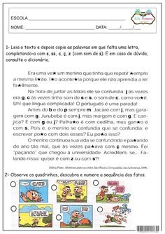 SOS PROFESSOR-ATIVIDADES: Sequênciar texto Portuguese Language, Sos Professor, Bullying, Teaching, School, Comprehension Activities, Writing Activities, Creative Activities, Cognitive Activities