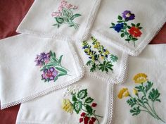 hand embroidery patterns for napkins | Vintage Hand Embroidered Napkins Neddle / Embroidery Work & Neccess