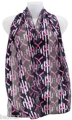 "Pink Ribbon Scarf Breast Cancer Awareness Black w Pink Ribbon Print 13""x 60"" | eBay"
