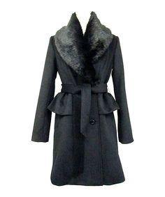 Take a look at this Ivanka Trump Black Wool-Blend Peplum Coat - Women on zulily today!