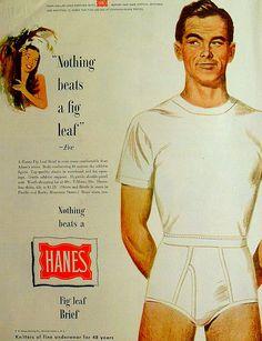 1950s HANES Fig Leaf Briefs  Men's Underwear Men Vintage Illustration Advertisement Full Page | by Christian Montone