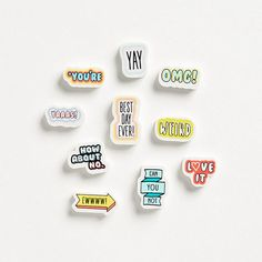 Set of ten sassy erasers from Paper Source.