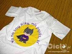 Camiseta Batman creada por CI que se puede conseguir en 3 versiones: pintada a mano, impresa en la camiseta y un transfer para que cada uno se lo ponga a golpe de plancha y salga más barato. Se puede hacer de cualquier personaje que se te ocurra