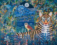 Painting with owl, by Esben Hanefelt Kristensen Graphic Design Illustration, Graphic Art, Illustration Art, Illustrations, Owl Pet, The Pussycat, Blue Moon, Pattern Art, Amazing Art