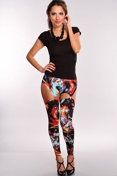 Your rebellious sense of style has been described as out of this world, and when you don these galaxy-print leggings of form-fitting fabric, youll catch the eye of all who pass you by. Featuring a galaxy print, high waist, elastic waist and suspenders. These comfy leggings will add a galaxy of style to your wardrobe. For a look youll want to than later, pair these bold leggings with a black sweater dress, Mary Jane style pumps, and a gold cuff bracelet on each wrist.