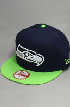 Seattle Seahawks Snapback Hat (Navy/Green) by 123SNAPBACKS  use rep code: OLIVE for 20% off