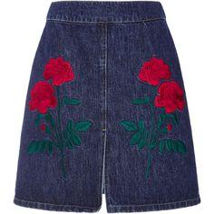 Adam Selman Embroidered Denim Mini Skirt (8.985.850 VND) ❤ liked on Polyvore featuring skirts, mini skirts, blue, denim mini skirt, high-waist skirt, mini skirt, high waisted skirts and short blue skirt