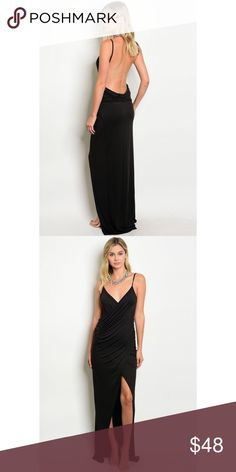 """New black low-back maxi . Brand new from my boutique  . Model is wearing the exact product                Any questions? Don't hesitate to ask  ✨ Use the """"buy now"""" or """"add to bundle"""" feature to purchase ✨ Dresses Maxi"""
