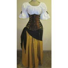 Buccaneer Wench Under-bust Corset Set - renaissance clothing, medieval, costume